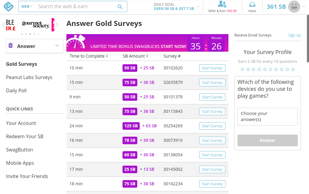 Second example of surveys