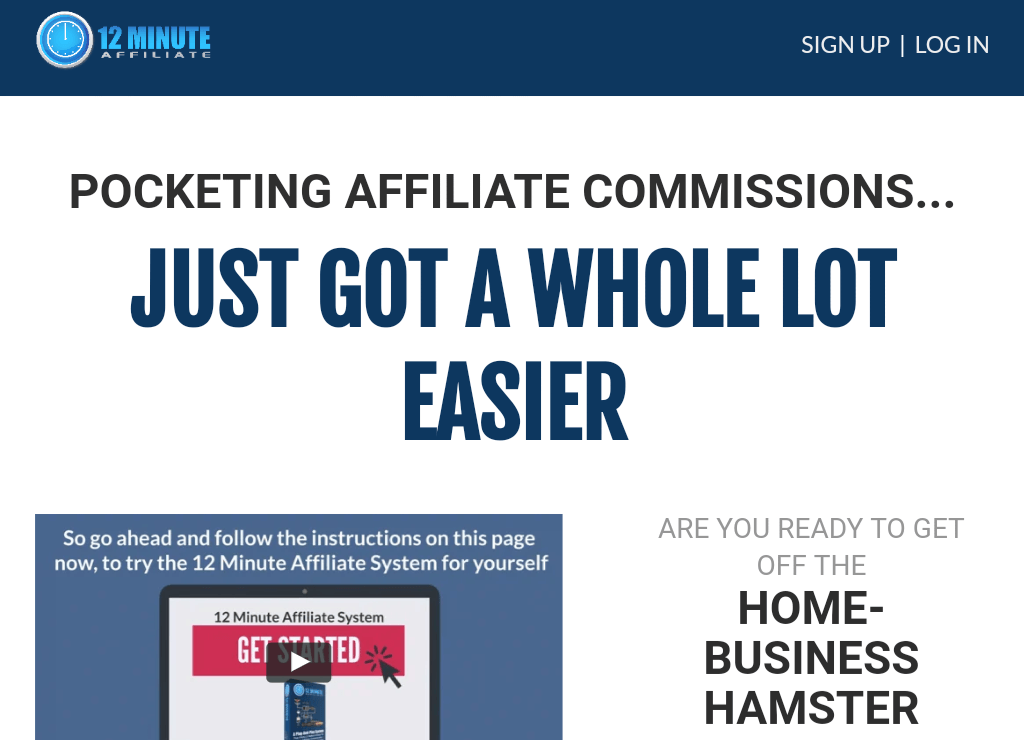 Actual Size 12 Minute Affiliate System  Affiliate Marketing