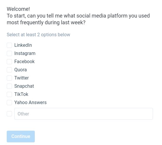 multiple choice question on social media usage