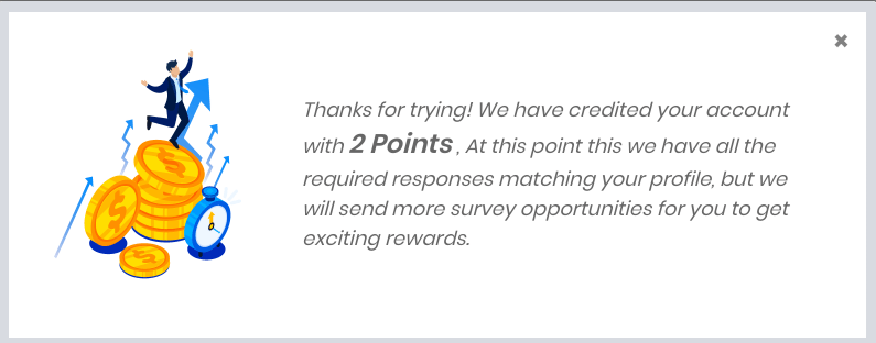 given two points for attempting survey
