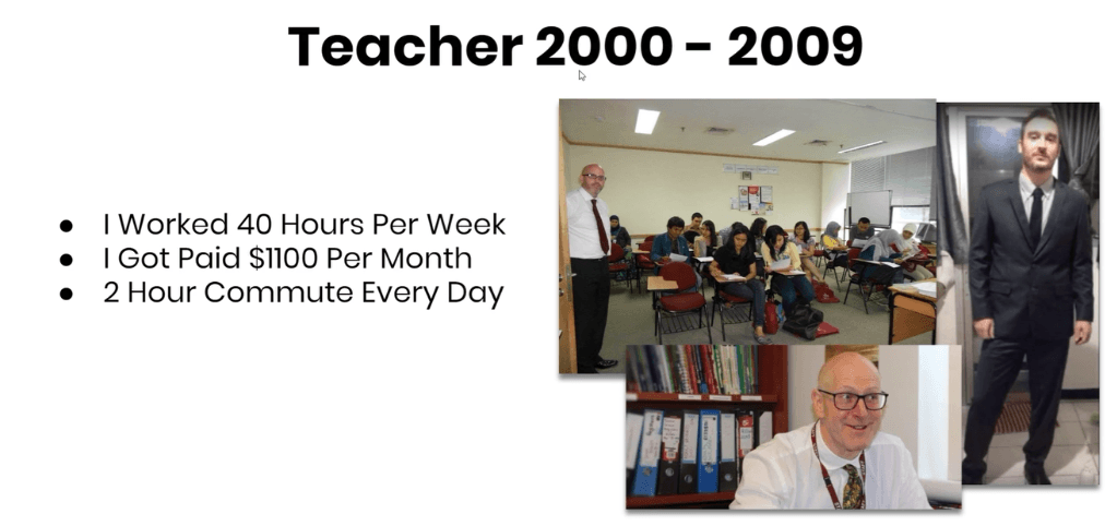 Jono being a teacher for 9 years