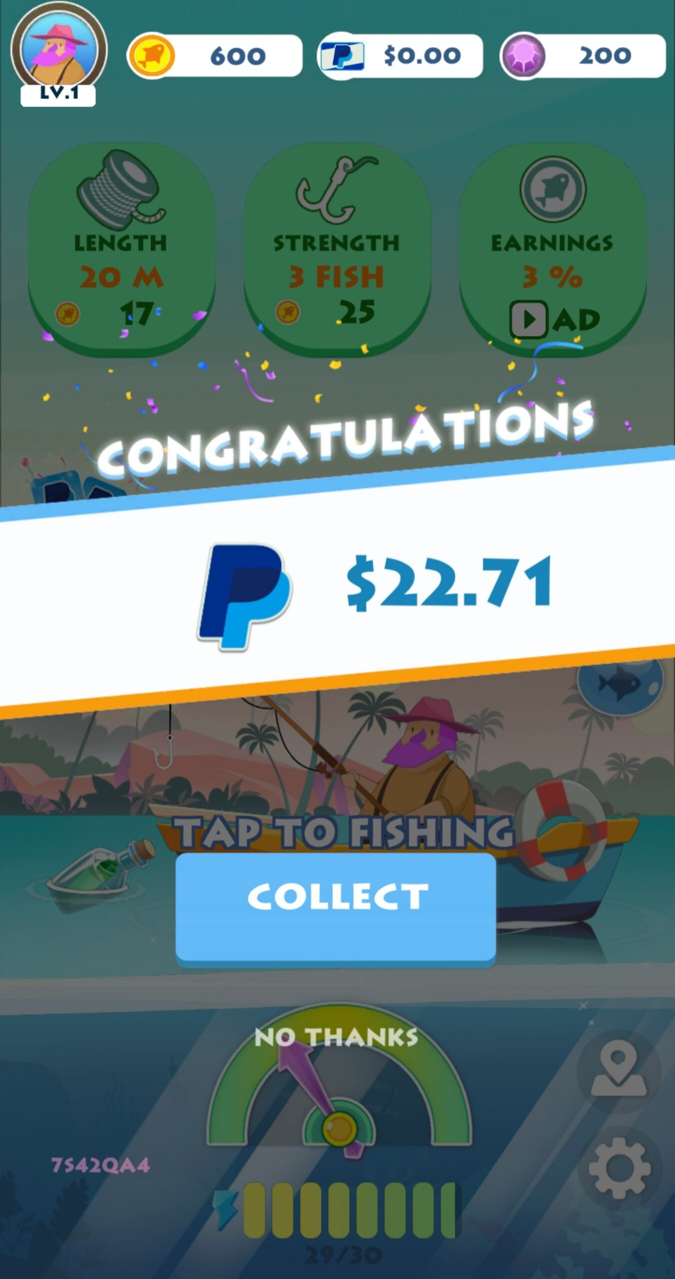 First Relax Fishing Payout