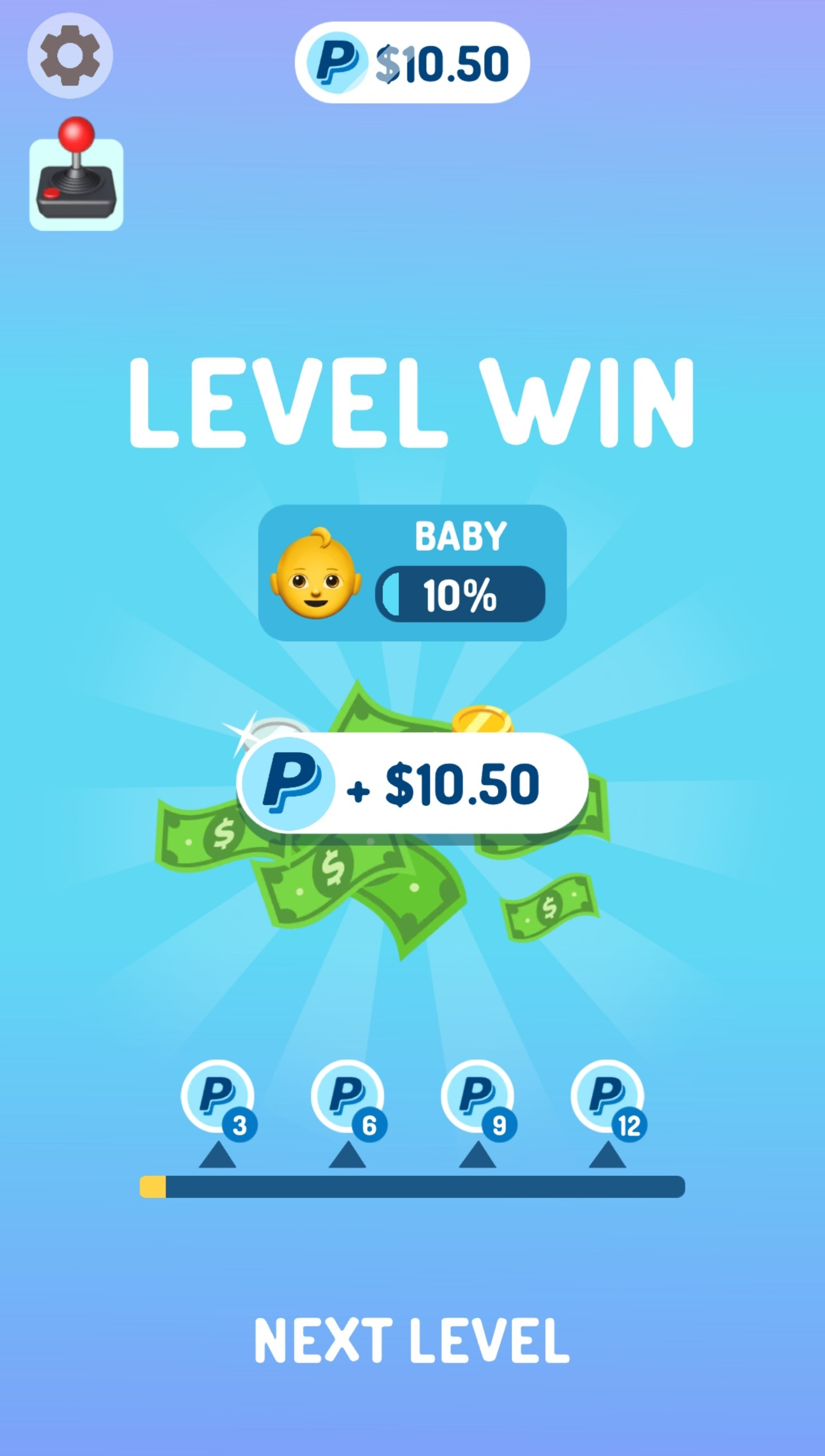 First Level Win Of $10.50