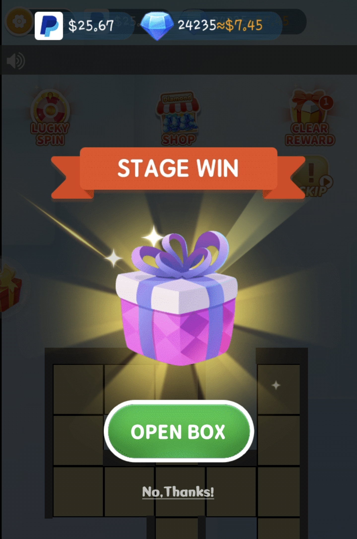 Open box after stage win