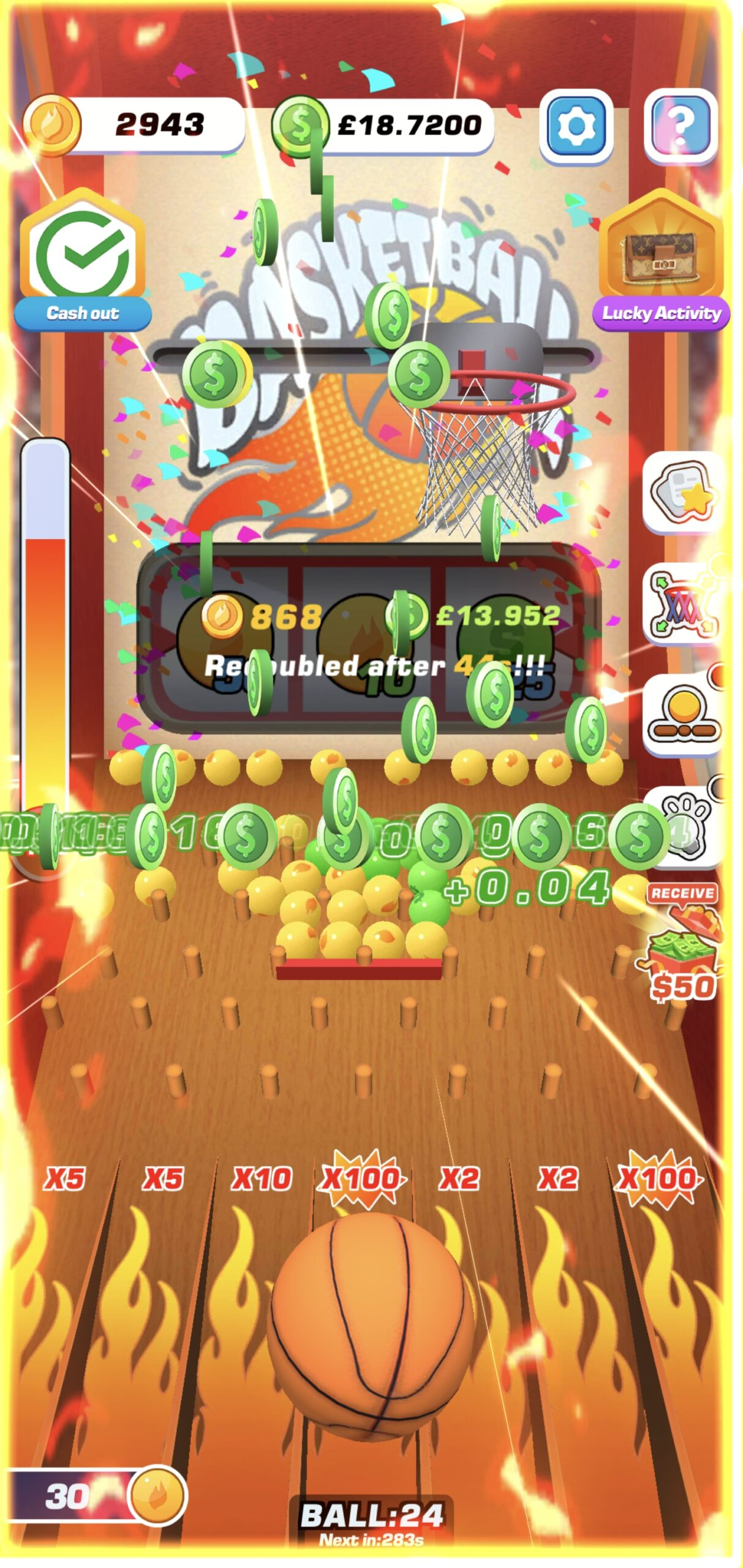 Shooting hoops for cash and coins