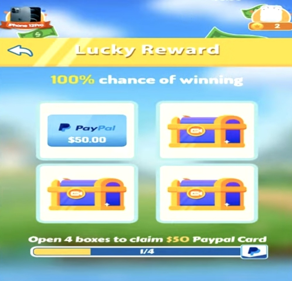 four boxes with rewards