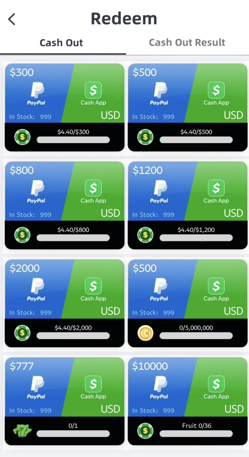 Two different cash payouts