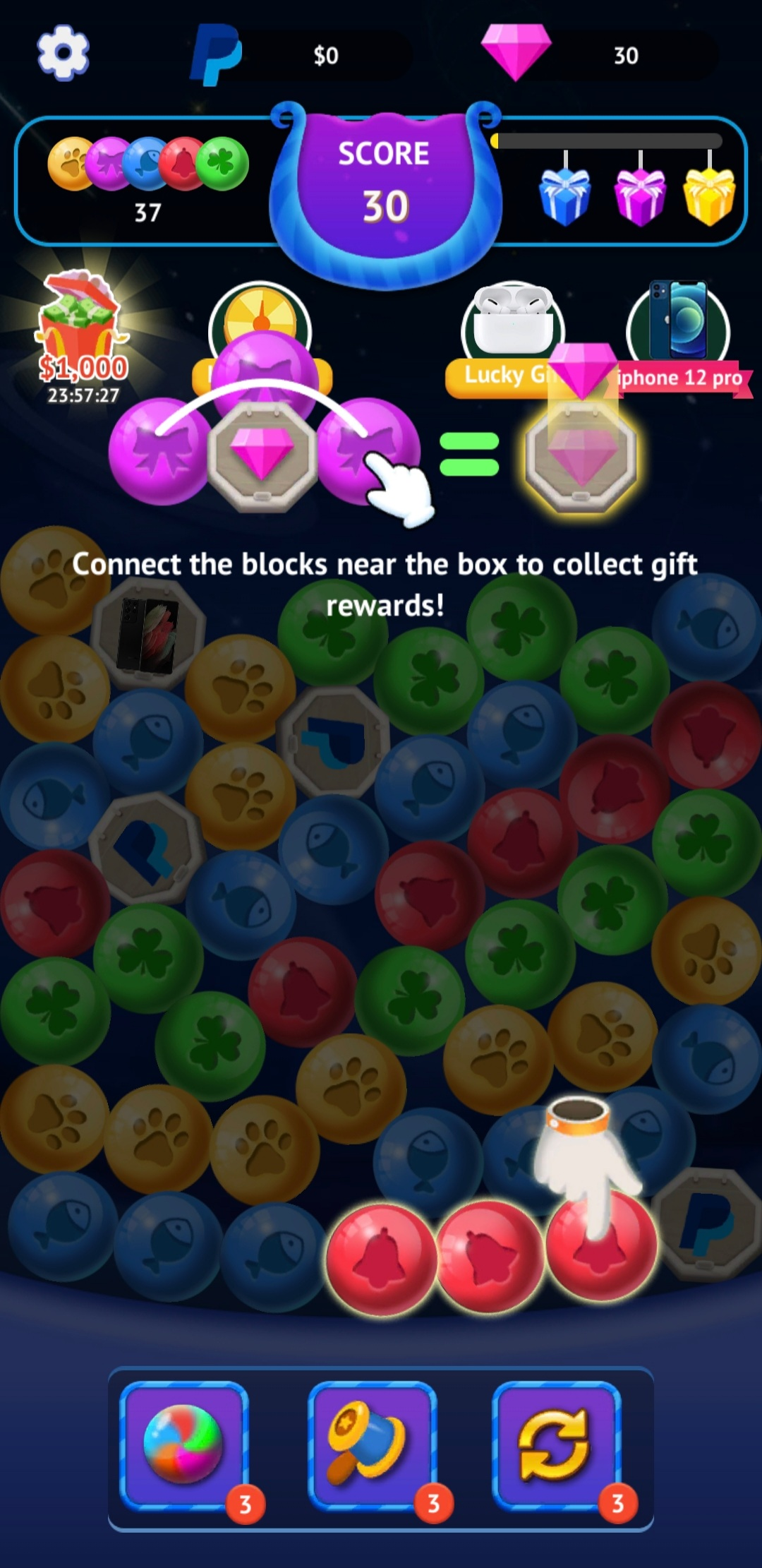 Screenshot of different animal bubbles