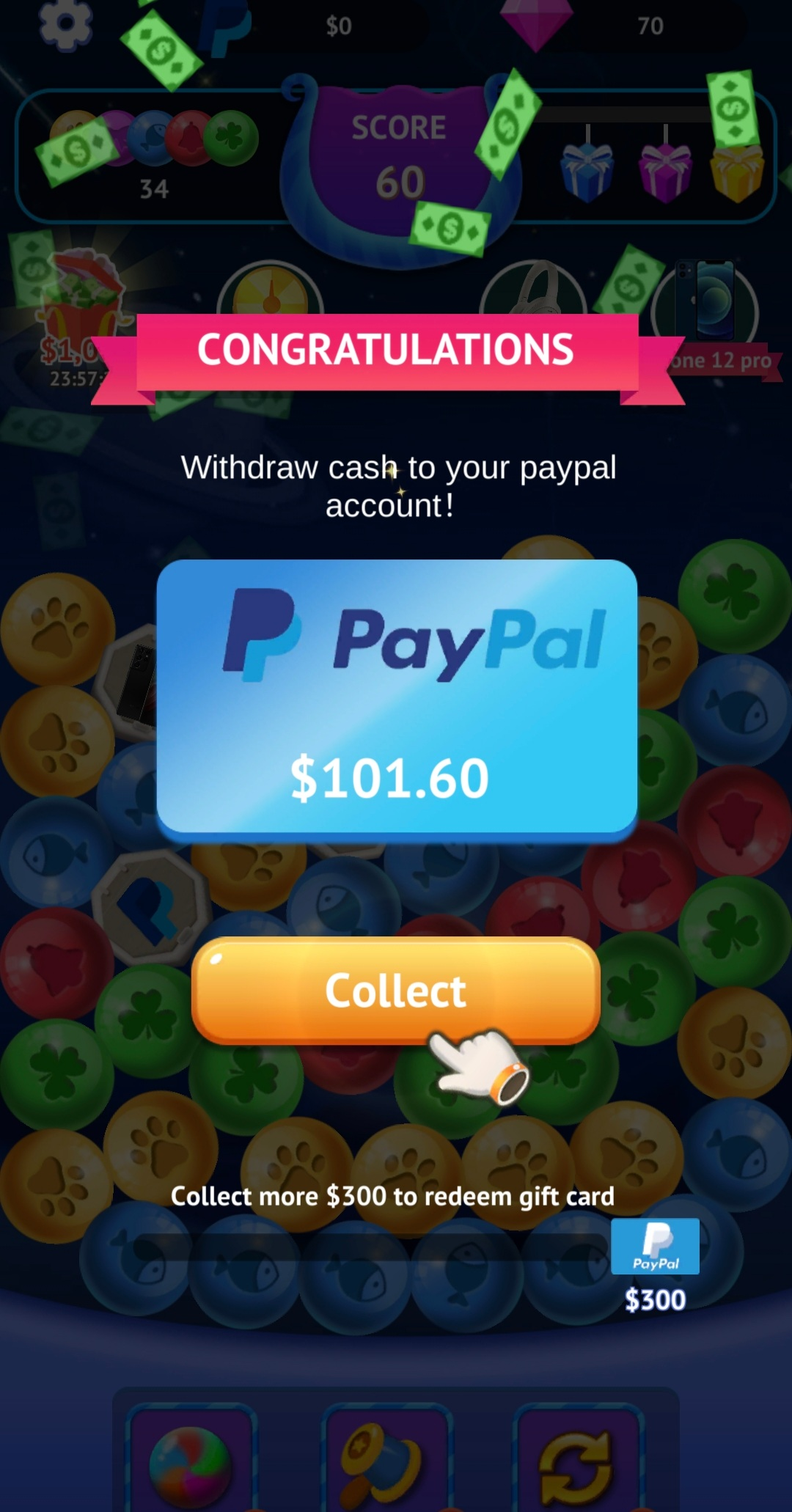 Getting a payout from Bubble Connect app